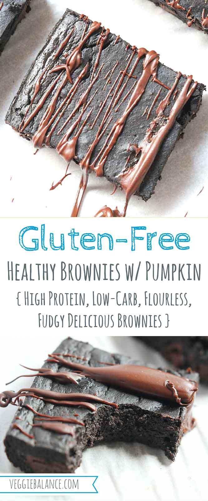 Healthy Brownies made with Pumpkin.5-ingredients to make ultra fudgy brownies that are healthy and gluten-free by using the secret ingredient, pumpkin!