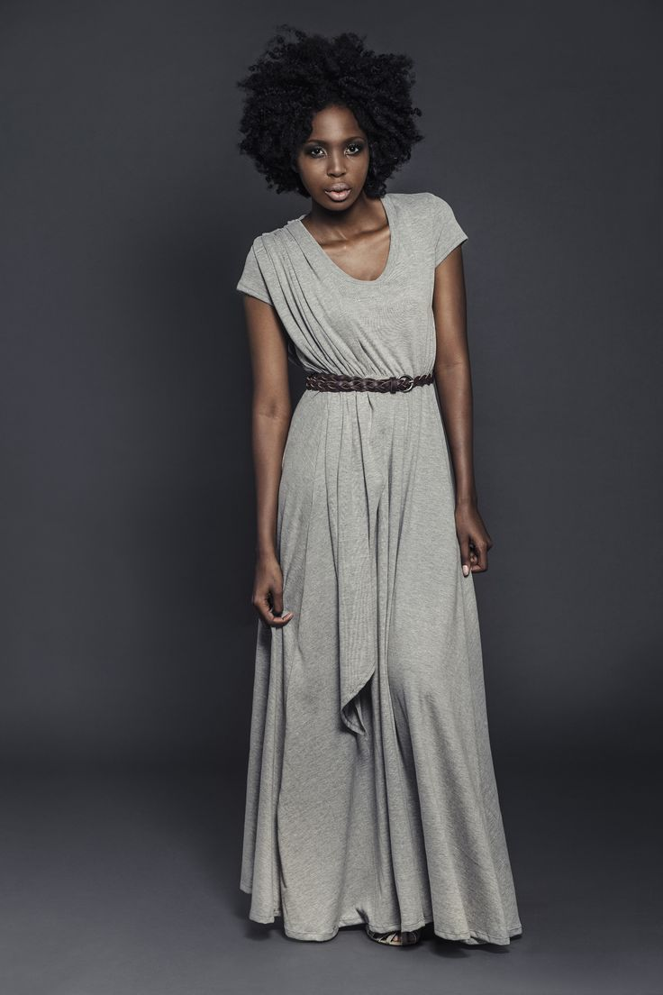 Ladies draped knit maxi length dress with genuine leather belt. For more information visit: https://www.facebook.com/pengellyclothing or https://www.pengelly.co.za