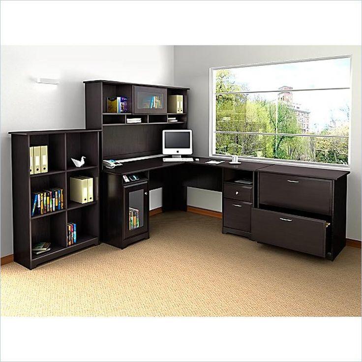 Lowest price online on all Bush Cabot 4 Piece L Shaped Computer Desk Office Set in Espresso Oak - WC31830-03K-PKG2