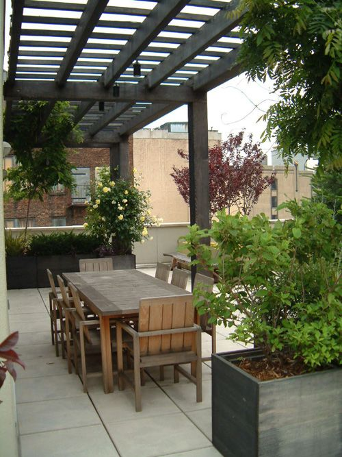 "Terrace with a wooden ""open"" roof like ours. Decoration ideas."