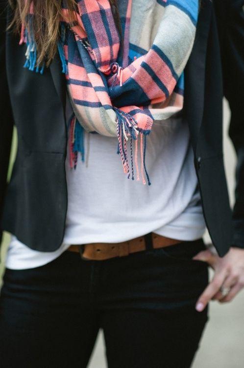 STYLE: Blazer, tee, scarf
