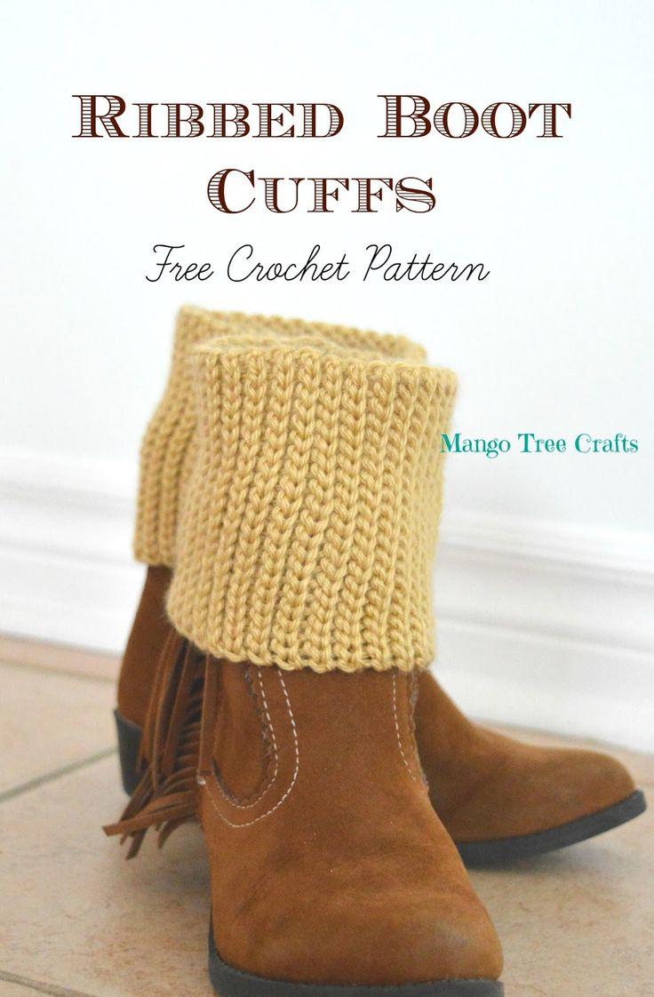 Ribbed boot cuffs free crochet pattern