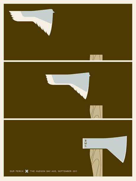 Jason Munn, The Small Stakes ::   Best Made Co. - Hudson Bay Axe  3 Color Screen Print  18 x 24 Inches  2011