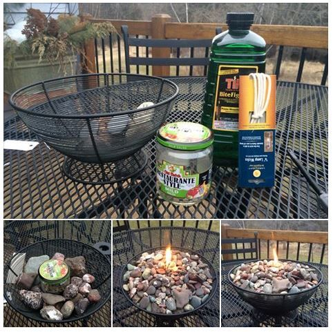 No link- I bought a wire basket at Savers, fill an empty glass jar with Tiki torch liquid, punch a hole in the cover and insert a wick through lid and cover the jar. While the wick soaks up the fluid, place jar in center of basket and add rocks around it. Light the wick and enjoy the rock candle!
