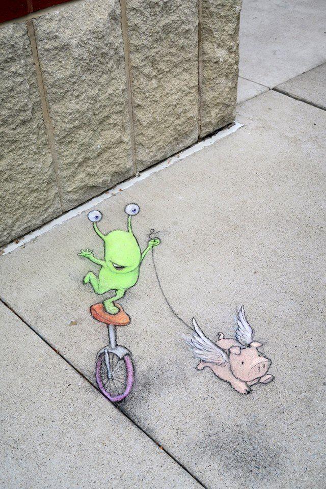 Unicycles (May 22, 2015) - street art by David Zinn