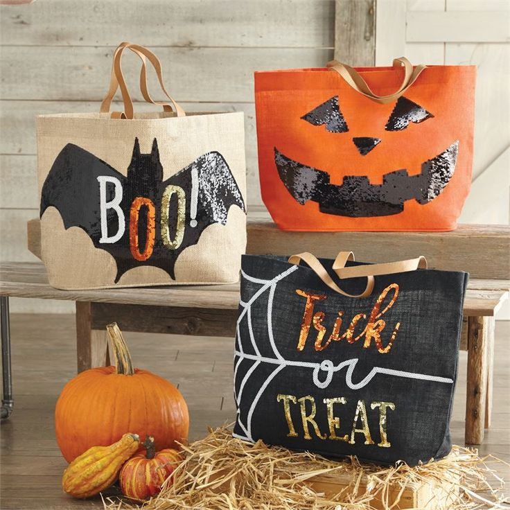 Boo Sequin Applique Tote Bag | Halloween Decor | Halloween Totes | Trick or Treating | For Halloween | Pumpkin | Bats | Boo | Trick or Treat | Great Gifts for Halloween