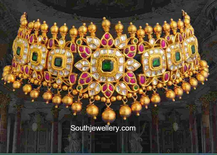 Antique choker in uncut diamonds, rubies and emaralds