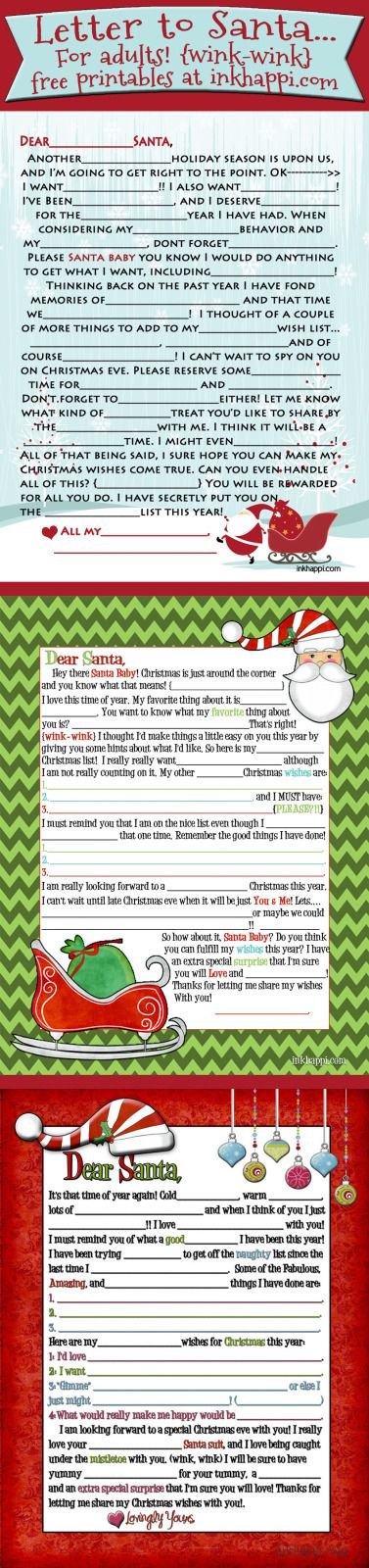 Adult Santa letter {wink-wink} Mad lib style! This includes 2012. 2013, and now 2014 versions!!