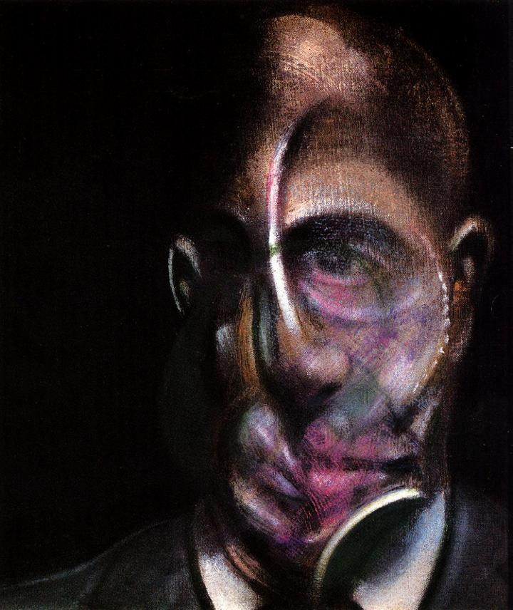 francis bacon >> portrait of michel leris, 1976 vv  |  (Oil, artwork, reproduction, copy, painting).
