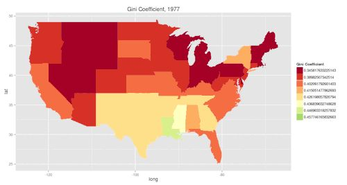 This gif shows the changing Gini coefficient of per capita income in US states between 1977 and 2012. The Gini coefficient is a measure of inequality, with higher numbers (represented here by greener colors) representing greater inequality.