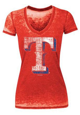 Texas Rangers Womens Red Burnout T-Shirt