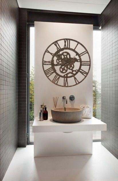 Large Wall Clock  INDUSTRIAL BROWN Wall Clock 24x24 by Homeguru