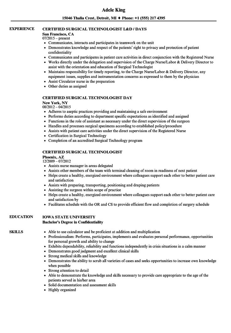 Surgical Tech Resume in 2020 Surgical technologist