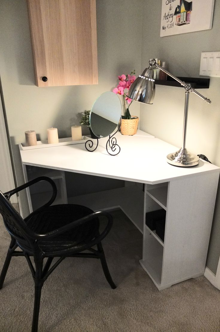 The BORGSJÖ corner desk tucks neatly in a corner, with enough top space and storage to make morning prep easy!