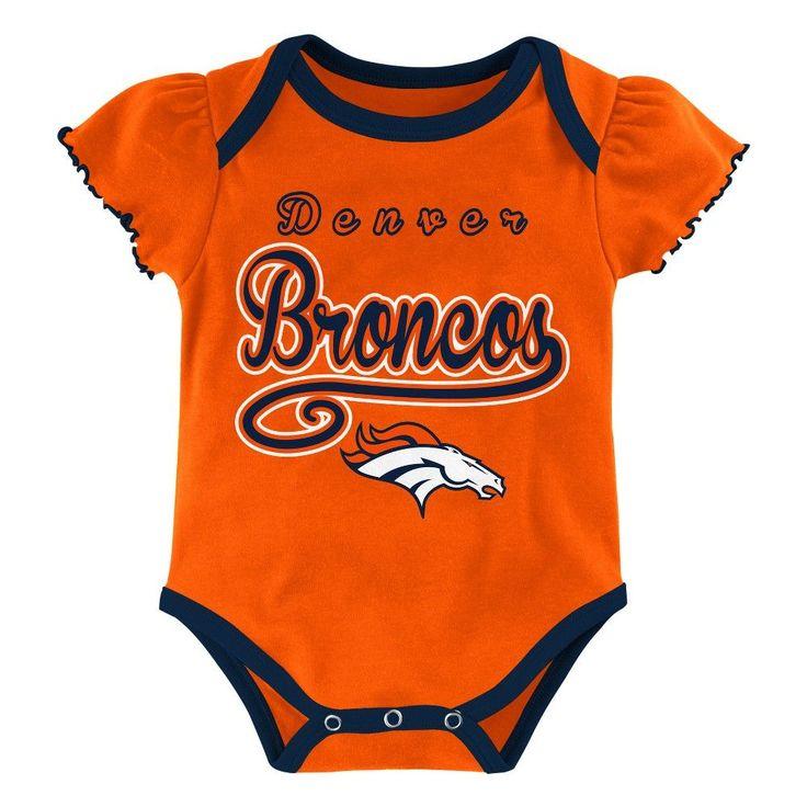 Child Bodysuits NFL Denver Broncos Team Color 12 Months, Multicolored White