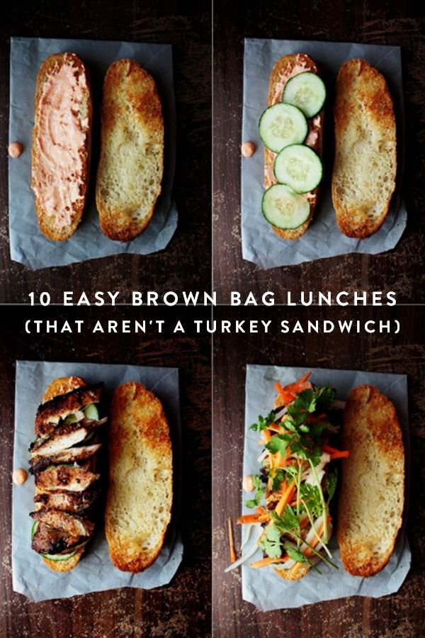 10 Easy Brown Bag Lunches That Aren't a Turkey Sandwich. Say bye to boring brown bag lunches. Add some excitement to lunch time and pack it yourself. Easy lunch options to take to work for you or the kids.