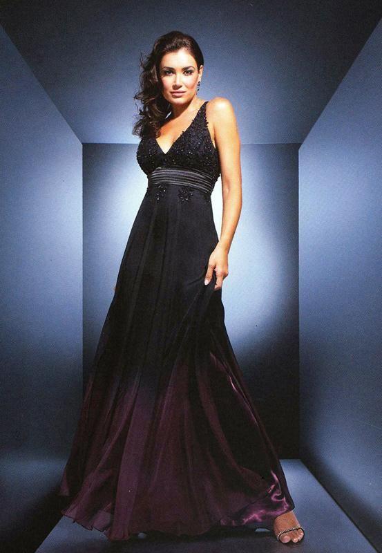 Fialovo-čierne padavé spoločenské šaty na ramienka S81 - Svadobný salón Valery