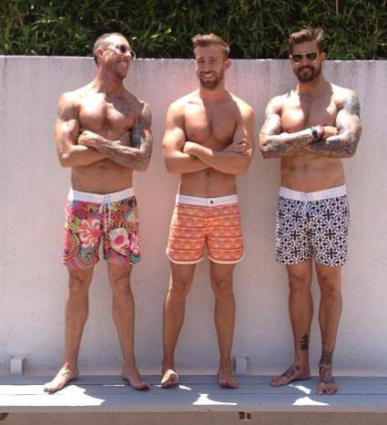 Poolside in Mr Turk with Chris McMillan, Luke Austin and Damian Hardy..... Boardshorts available NOW at our Palm Springs Store & ONLINE at MrTurk.com