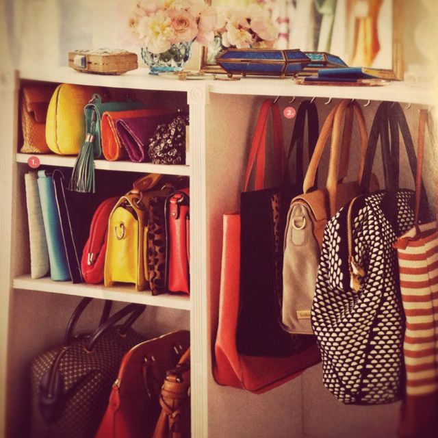 Love this small space trick - use hooks to hang and store handbags. Super clever in Lucky mag.: Decor, Purse Storage, Handbags, Closets, Closet Organization, Handbag Storage, Storage Ideas, Purses, Purse Organization