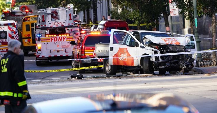 Officials said a motorist drove a rental truck about 20 blocks down a bike path, striking pedestrians, before he jumped out and was shot by the police.