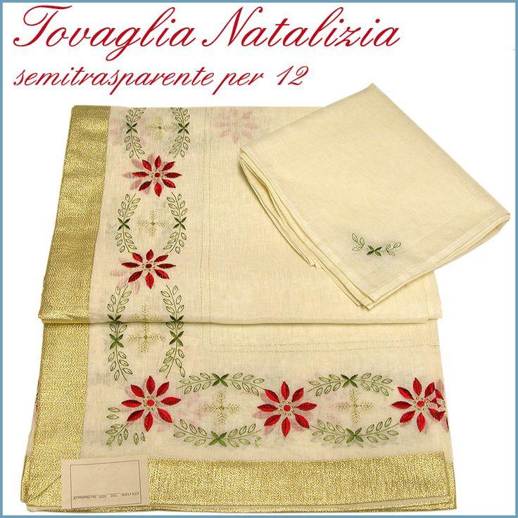 Tovaglia Natalizia realizzata in tessuto semitrasparente per rendere preziosa la tavola delle feste. Può esser usata anche sopra una qualsiasi tovaglia tinta unita.