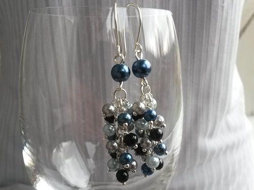 Light long dangle glass beads cluster earrings hos imk-design.com