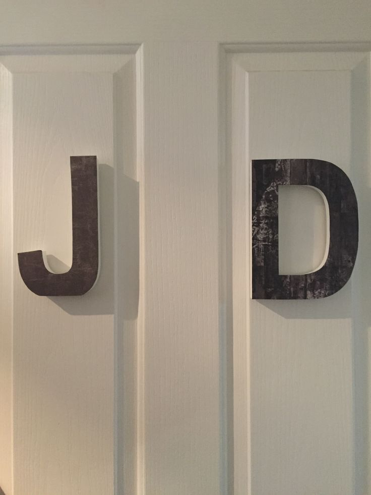 Simple first letter for a child's room. Can add small wooden letters painted to now whose room if easier.