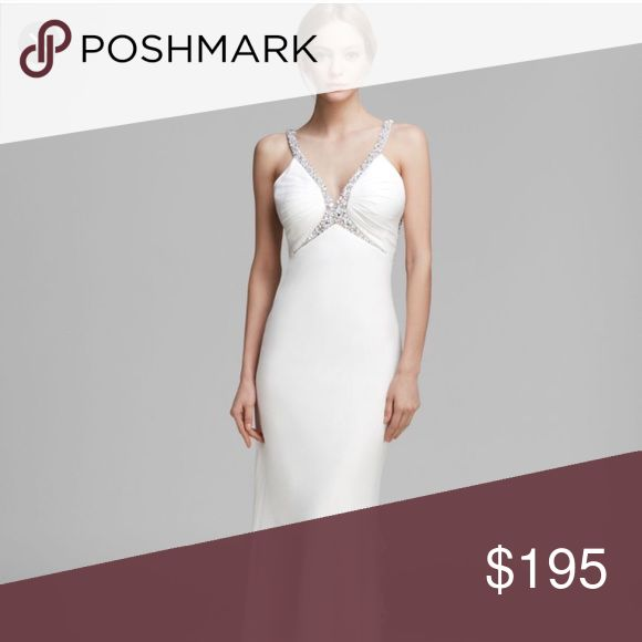 Faviana white embellished chiffon gown wedding Brand new witht ags . No flaw or alteration . Faviana Dresses