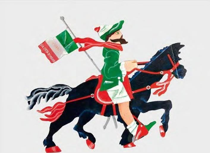 """Aldo Spoldi, """"26 ottobre 1797 - Garibaldino a cavallo"""", pittura su legno sagomato, cm 53x62, dal catalogo della mostra """"Novanta artisti per una bandiera"""", ©2013 corsiero editore"""