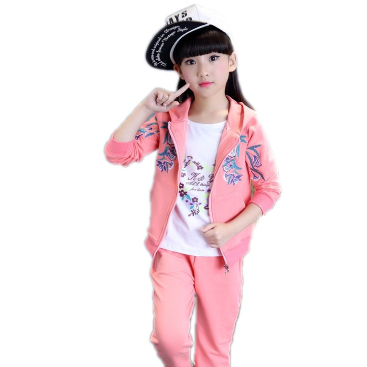 33.13$  Watch more here  - girls clothing sets 2017 new spring kids for sale  embroidery floral printed teenager girls outfits kids sports wear for girls