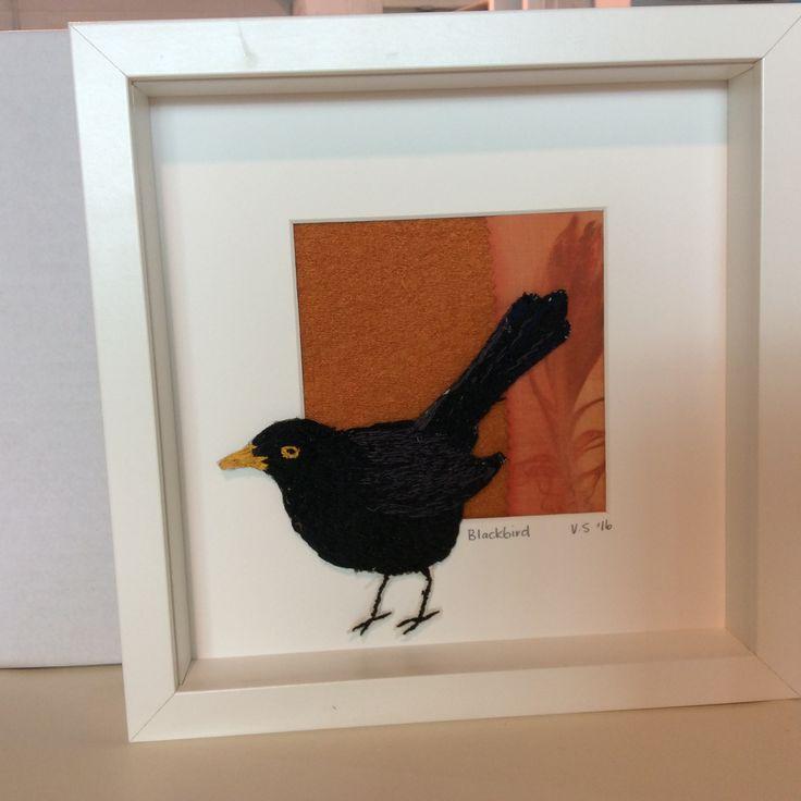 Blackbird. Hand embroidery. www.violetshirran.com