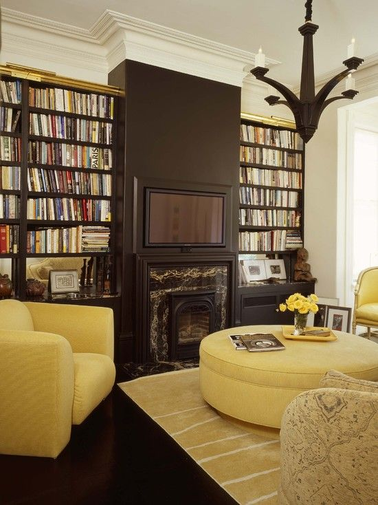 Living Room With Yellow Ottoman And Chairs. TV Area Painted Black Over  Fireplace. Eclectic Living Room By Jerry Jacobs Design, Inc. Part 78