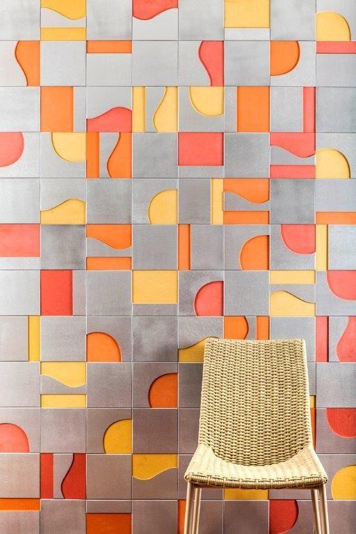 Linha Modernista da Coleção Brasiliana, criação das equipes Renata RUbim Design & Cores e Oca Brasil Revestimentos