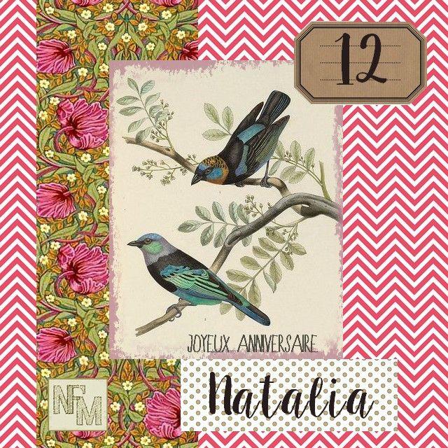 Pour les 12 ans de ma nièce, Natalia, nouvelle carte personnalisée. Images trouvées ici et sur Pinterest, polices d'écritures...