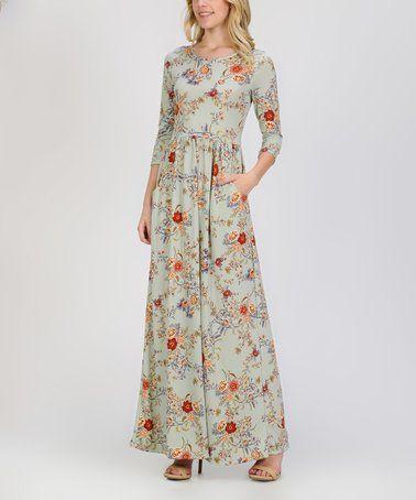 a8ee0d0e1dae Another great find on  zulily! Sage   Orange Floral Pocket Blouson Maxi  Dress - Women  zulilyfinds