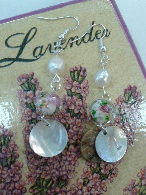 Aros vintage de nácar y piedra rosa