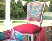 Renewed Louis XV chair with velvet seat and Amy Butler fabrics. Renovada silla Luis XV con telas de Amy Butler
