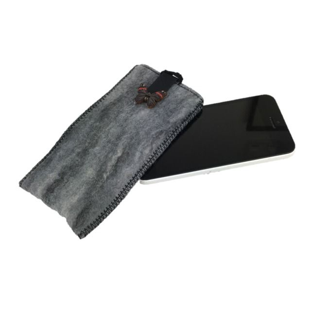 Felted sleeve for iPhone 5 in black and grey with butterfly £8.00