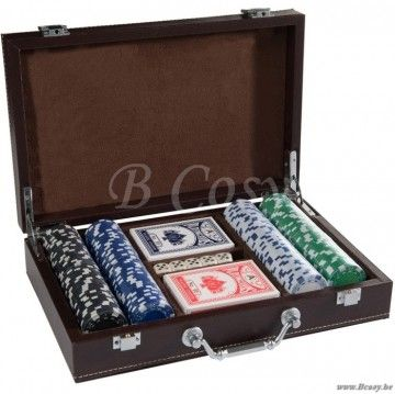 J-Line Pokerkoffer poker met 200chips in bruin similileder 30