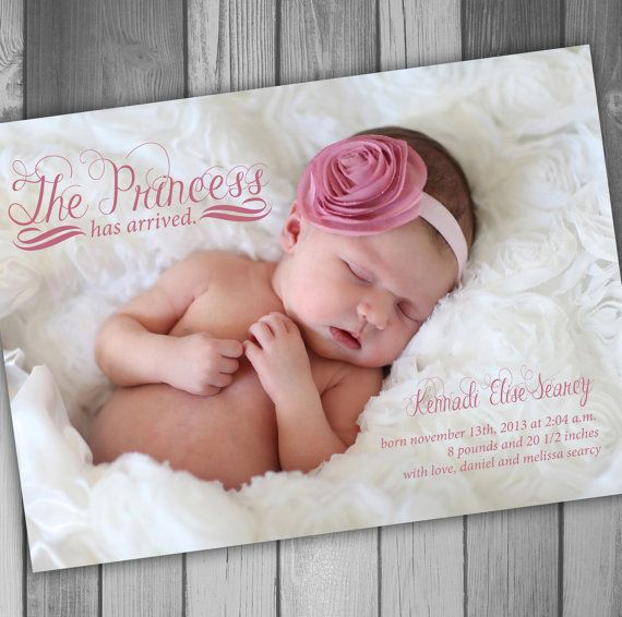 Princess Baby Girl Announcement Photo Baby by CLaceyDesign on Etsy