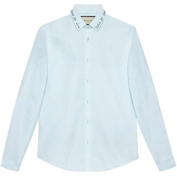 Gucci Embroidered Cotton Duke Shirt (£365) ❤ liked on Polyvore featuring men's fashion, men's clothing, men's shirts, men's casual shirts, cotton, men, ready to wear, shirts, gucci mens shirts and mens embroidered shirts
