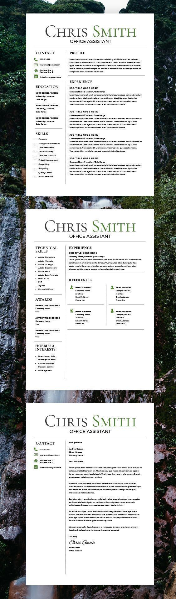 receptionist sample resume%0A Trending Resume Template  CV Template  Free Cover Letter  MS Word Mac PC
