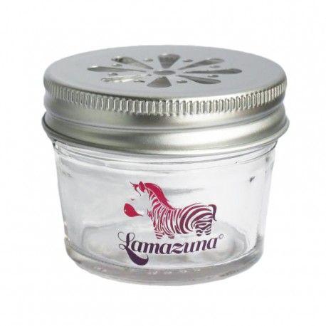 Pot en verre inspiré des Mason Jars américaines Couvercle en métal joliment perforé en forme de marguerite Idéalement conçu pour ranger vos cosmétiques solides