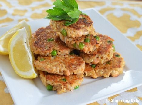 Mini Salmon and Brown Rice Cakes | Slimming Eats - Slimming World Recipes