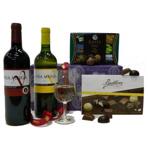 Spanish Wine  Chocolate Treats Hamper. #Wine and Chocolate, #hamper basket, hampers #UK and Ireland. http://www.heritagehampers.com/gift-types/gift-types-classic-hampers/spanish-wine-and-chocolate-treats-hamper