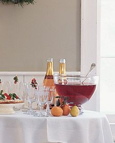 Cranberry, Tangerine & Pomegranate Punch with Champagne. Went over REALLY well with my party guests.
