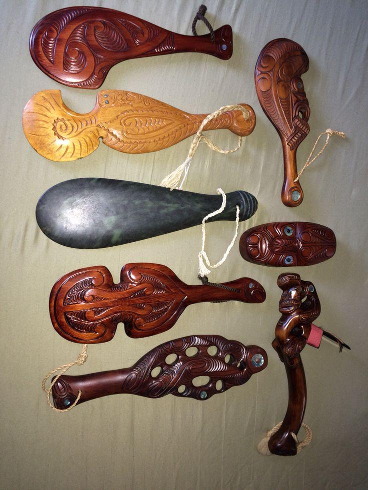 My Maori weapons collection. Toki, Patu, Mere, and Maripi.