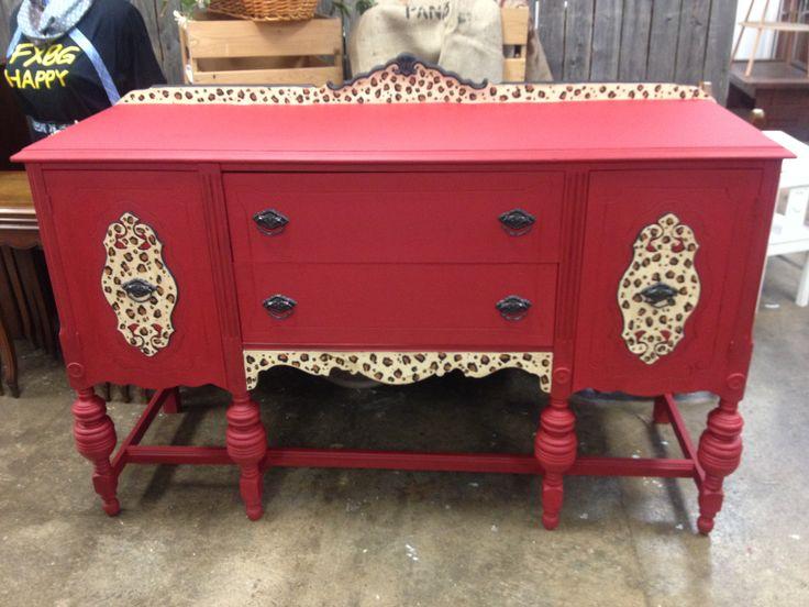 Red cheetah print buffet