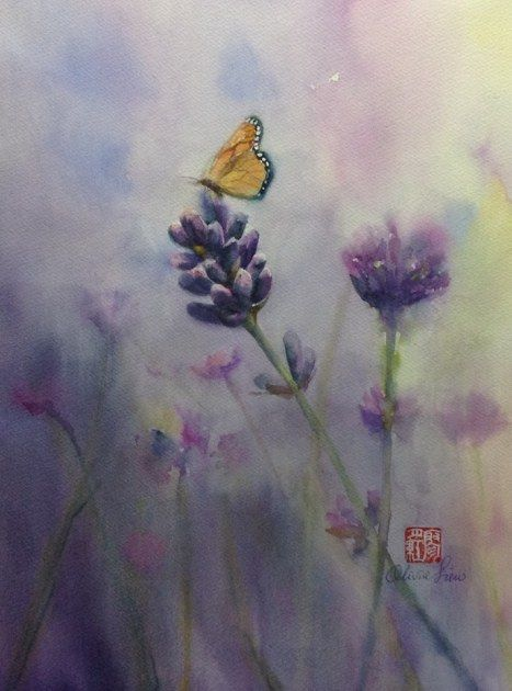 When the Lavender Blooms, The Butterfly Come Uninvited, watercolour, paper Fabriano 30 x 40cm by OliviArt