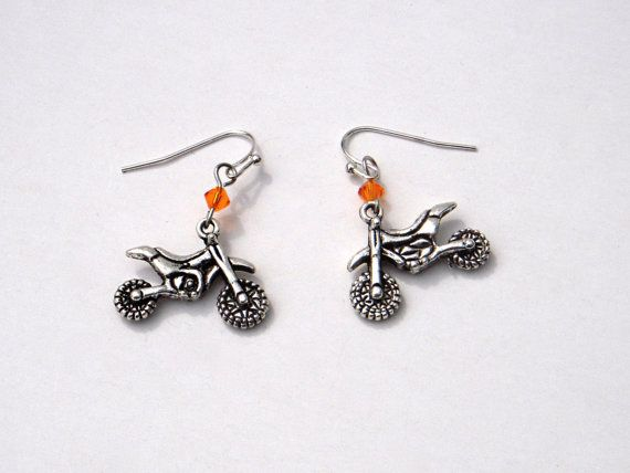 KTM orange dirt bike earrings by CherryBlossomMuse, $6.99